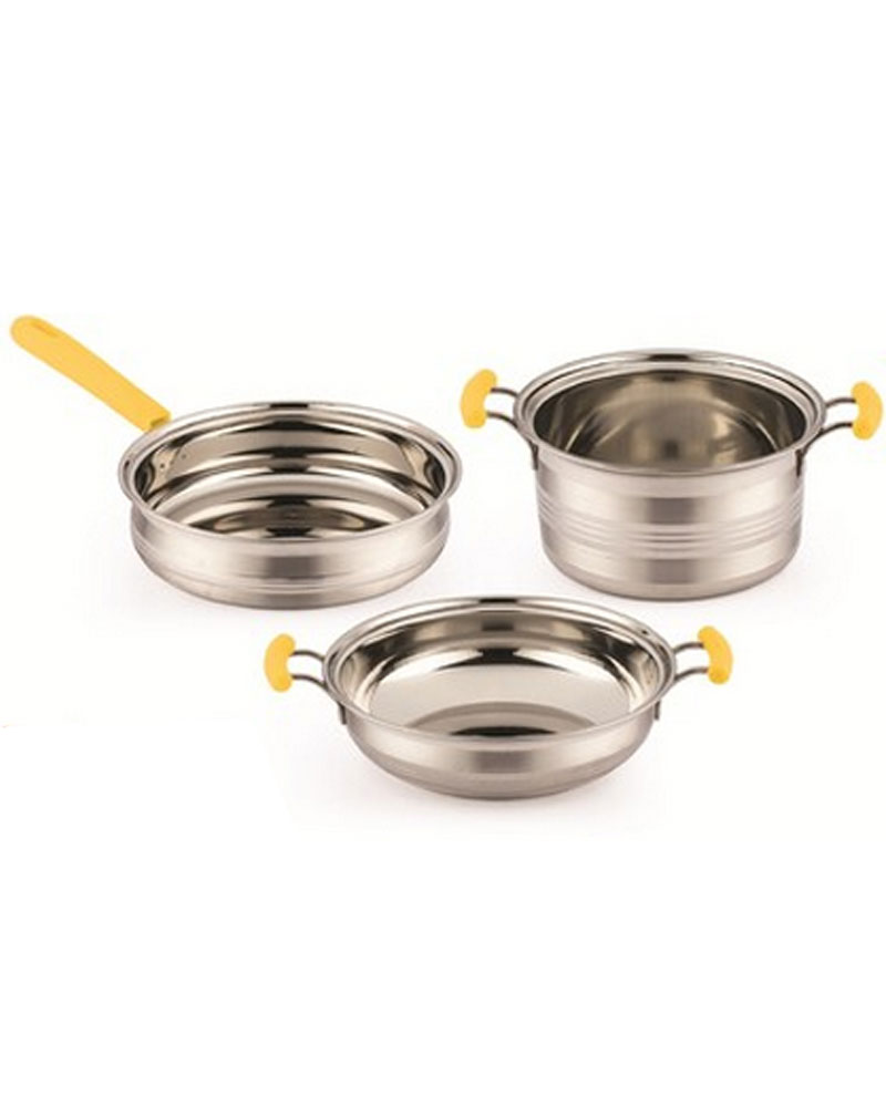e6c0a5c30ef Mahavir 3Pc Induction Base SS Cookware Set -Yellow Handle-3CCYLHINDCK
