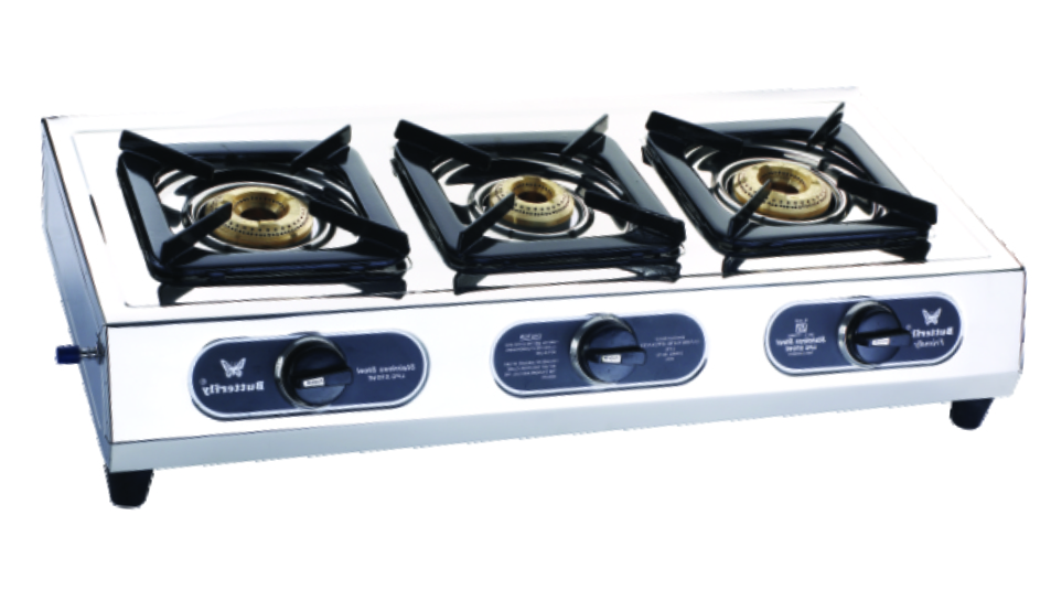 Amazing Butterfly Friendly 3 Burner Auto Ignition Stainless Steel LPG Stove